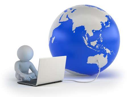 kleine man communiceert met de wereld online