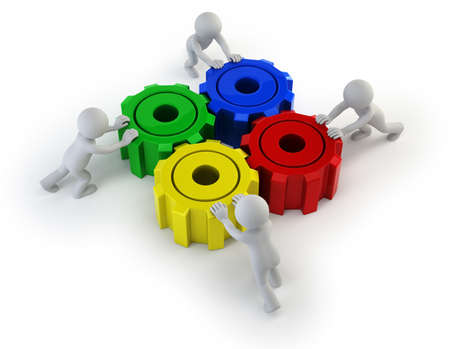 reliability: successful teamwork. Isolated white background Stock Photo