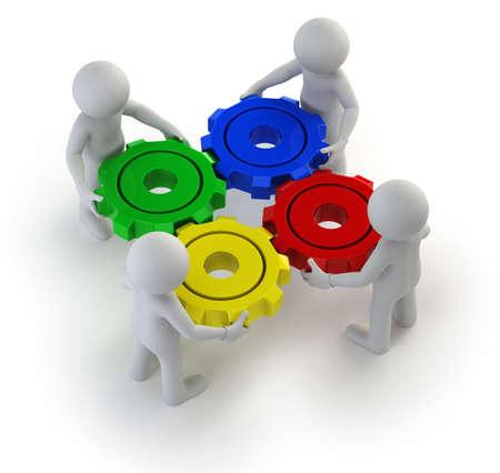 rueda dentada: exitoso trabajo en equipo. Fondo blanco aislado