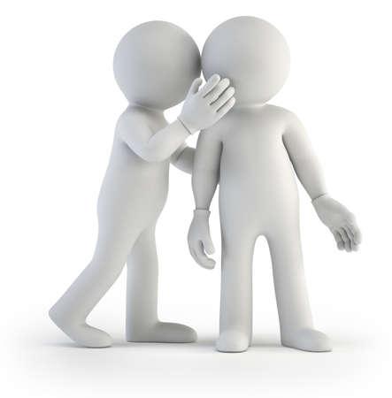 fofoca: homenzinho compartilha o segredo. Fundo branco isolado