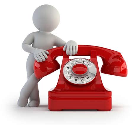 telefono caricatura: pequeño hombre esperando una llamada importante. Fondo blanco aislado
