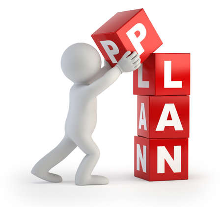 kleine man maakt een plan, Geïsoleerde witte achtergrond Stockfoto