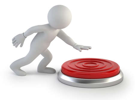 kleine man drukt op de grote rode knop, Geïsoleerde witte achtergrond