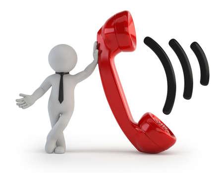 De kleine man de telefoon beantwoordt, Geïsoleerde witte achtergrond Stockfoto
