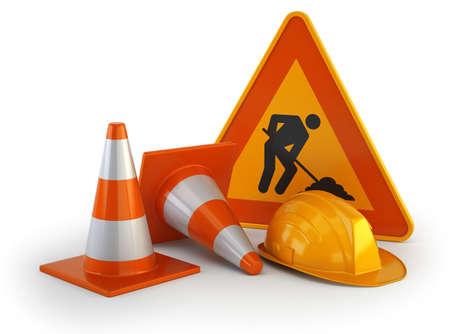 attention being repaired roads, Isolated white background
