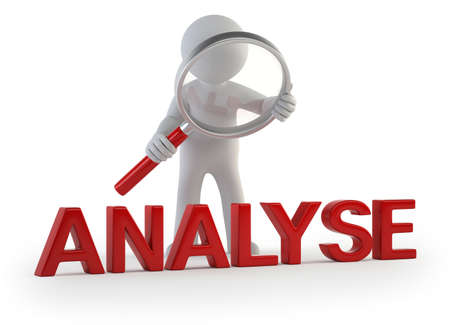 analyse: analyse le petit homme, sur fond blanc isol� Banque d'images