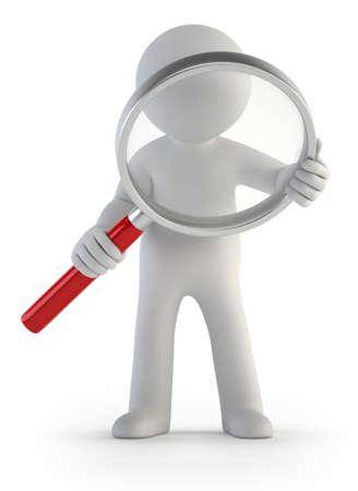een kleine man met een vergrootglas in de hand, geïsoleerde witte achtergrond Stockfoto