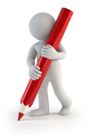 masculino: un pequeño hombre que sostiene un lápiz, fondo blanco aislado