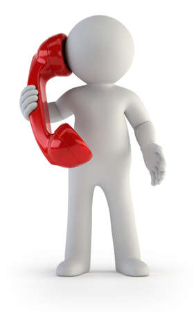 小さな男が電話で話しているホワイト バック グラウンドの分離