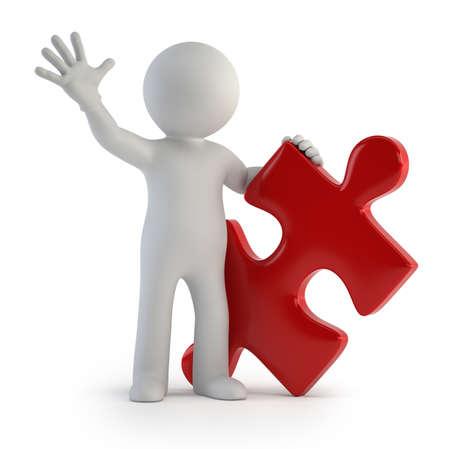 jigsaws: un piccolo uomo in possesso di un puzzle isolato