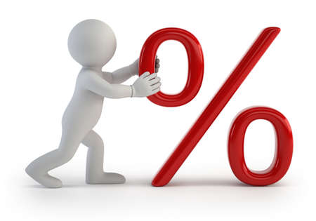 a little man pushing percent symbol, Isolated white background