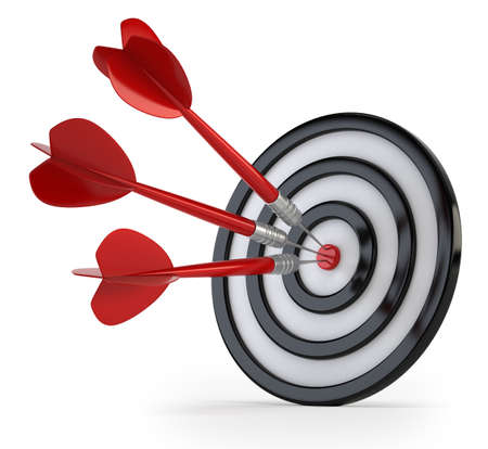 precise: success, the precise target hit, Isolated white background Stock Photo