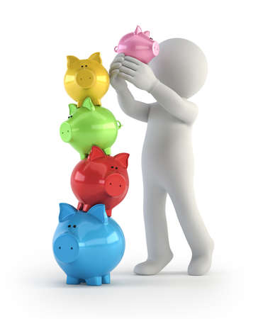 Tower of piggy banks, Isolated white background