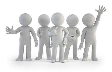 een groep van goede kleine mensen, Geïsoleerde witte achtergrond