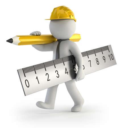 kleine man bouwer, Geïsoleerde witte achtergrond Stockfoto
