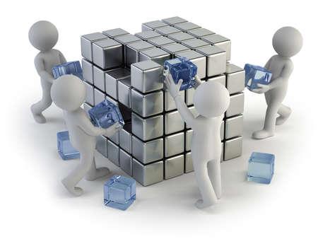 Het concept van het opzetten van een bedrijf, Geïsoleerde witte achtergrond Stockfoto - 23272574