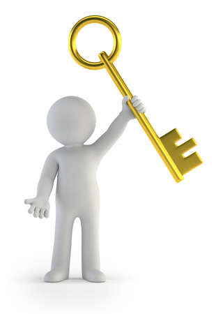 a little man holding a golden key, Isolated white background Stockfoto