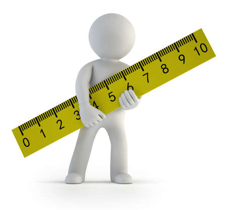 a little man holding a ruler, Isolated white background Stockfoto