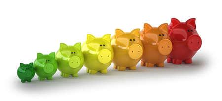 chink: energy-saving pigs, Isolated white background Stock Photo