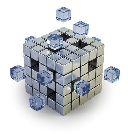 cube assembling from blocks, Isolated white background Stockfoto