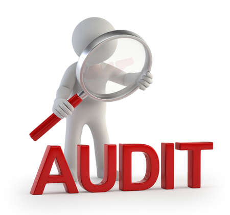 audit: little man makes checking, Isolated white background