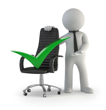 acknowledgment: executive chair green check, Isolated white background