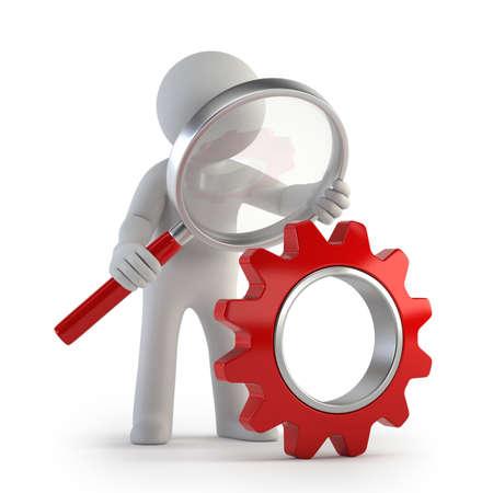 Kleine Mann Lupe rot Getriebe, Isoliert weißem Hintergrund Standard-Bild - 27525299