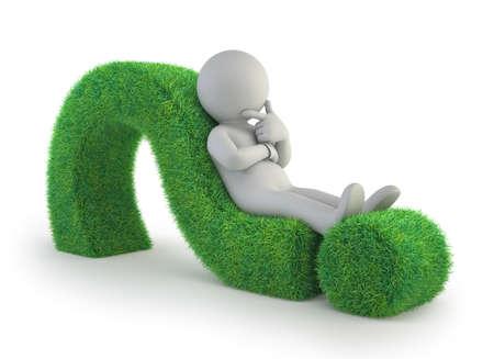 3d kleine mensen - die op een groen vraagteken