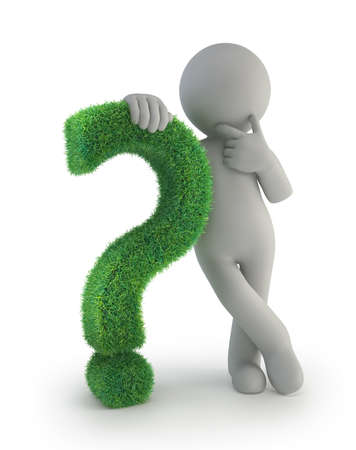 punctuation: 3d small people - with a green question mark