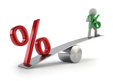 3d kleine Leute - niedrige Zinsen Standard-Bild