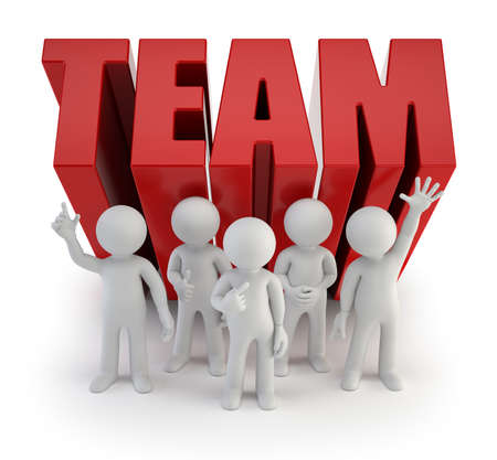 organisation: 3d small people - reliable team Stock Photo
