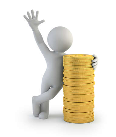 3d small people - gold coins Stockfoto