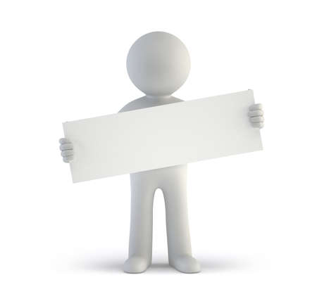 fellows: 3d small people - blank white board