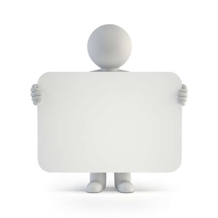 3d small people announcement Isolated white background