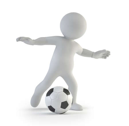 soccer player: 3d small people football player Isolated white background Stock Photo