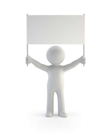 demonstrator: 3d small people - demonstrator, Isolated white background