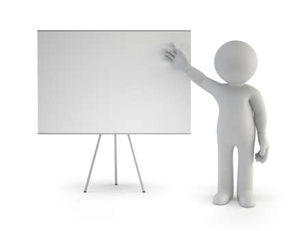 3d small people - with empty board, Isolated white background