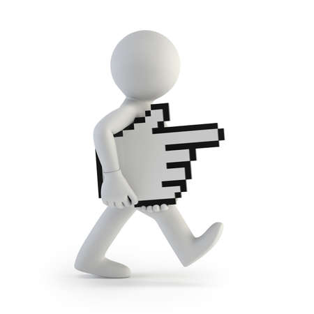 move forward: 3d small people - carries hand cursor, Isolated white background