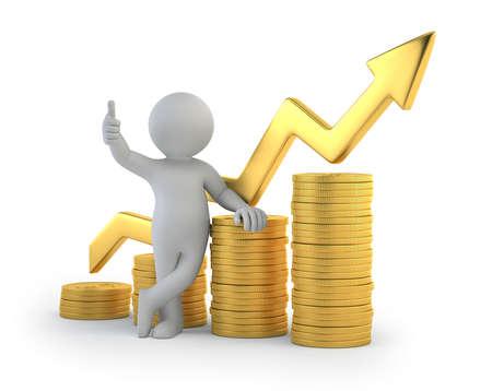 3d kleine mensen - goede winst Stockfoto