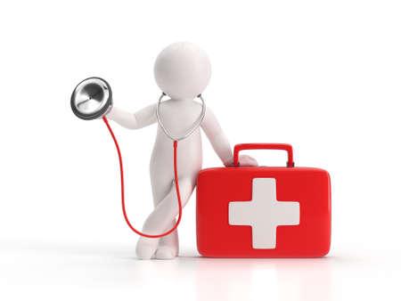 3d small people - stéthoscope et trousse médicale Banque d'images - 51352708