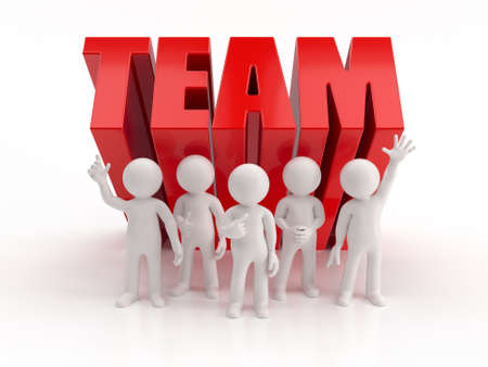 small people: 3d small people - reliable team Stock Photo