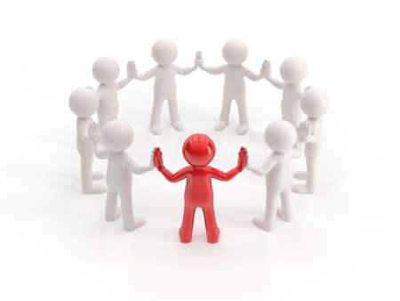 small people: 3d small people - leader