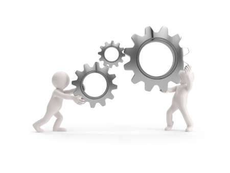 3d small people - keep gears in hands, Isolated white background Stockfoto