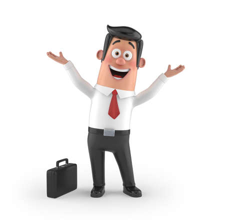 fellows: 3D funny cartoon character office man in suit isolated Stock Photo
