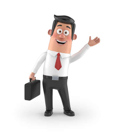 pretty smile: 3D funny cartoon character office man in suit isolated Stock Photo