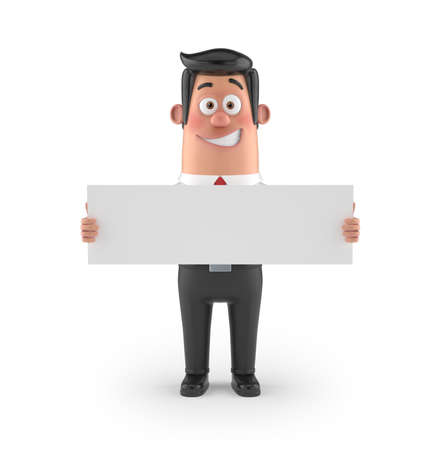 a fellow: 3D funny cartoon character office man in suit isolated Stock Photo