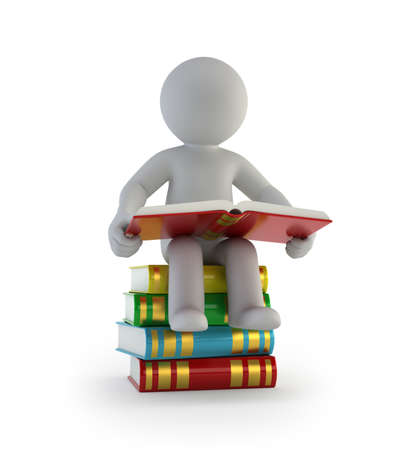 3d small people - sitting on the books
