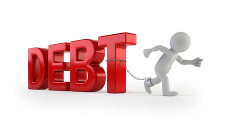 3d small people - pulling debt text, Isolated white background Stockfoto