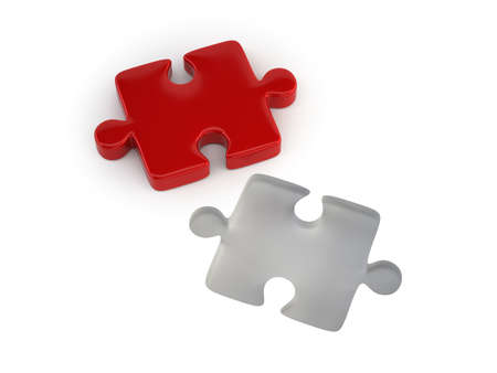 Red puzzle piece, Isolated white background