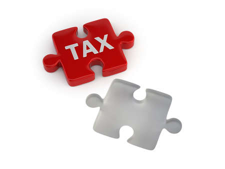 Tax concept with red puzzle piece, Isolated white background